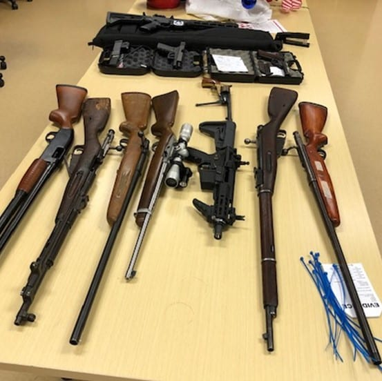 Battle Ground Police released this photo of firearms seized from a home at SW 12th Street and 2nd Ave after a standoff on Thursday afternoon. Photo courtesy Battle Ground Police Department