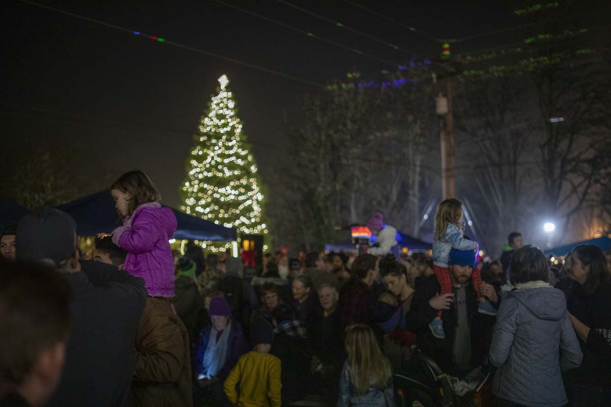 Hundreds of people gathered for La Center's annual Christmas Festival and tree lighting, laser light show and living nativity. Photo by Jacob Granneman