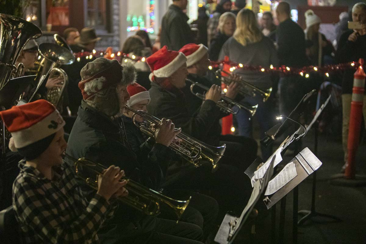 Members of the La Center band perform traditional Christmas songs for an audience at the city's annual Christmas Festival. Photo by Jacob Granneman