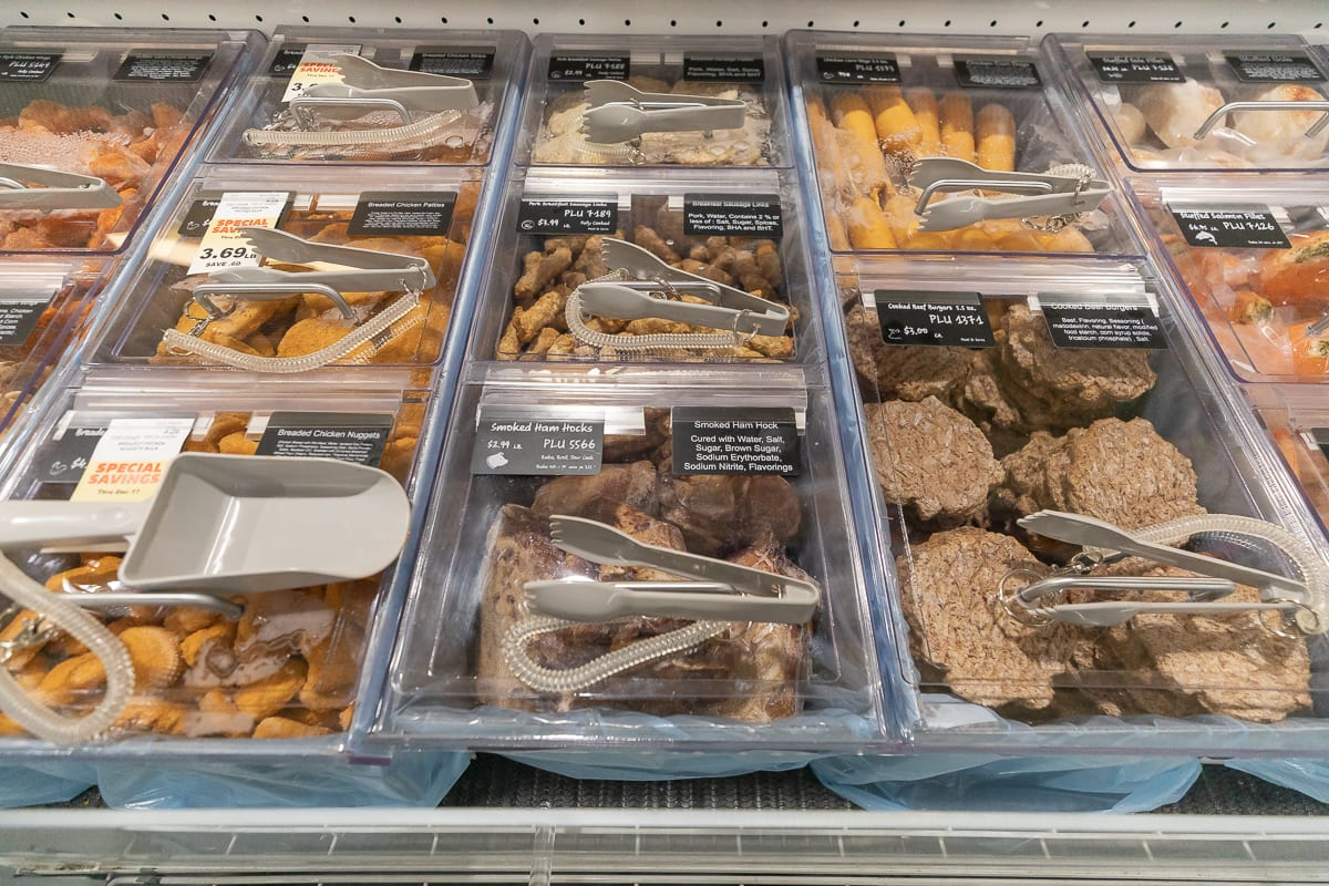 The Ridgefield Rosauers Supermarket features a self-service meat display, including fresh seafood. Photo by Mike Schultz