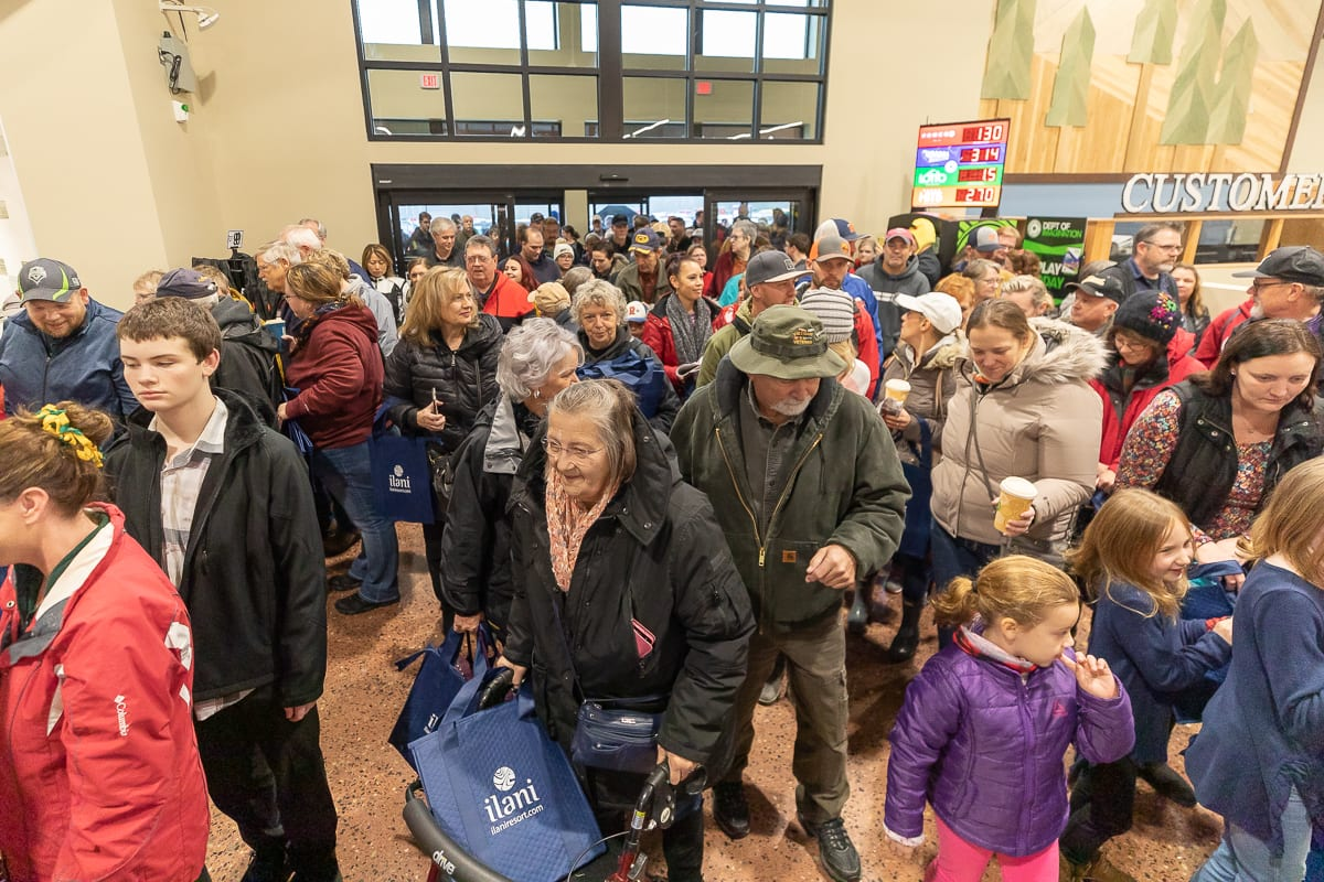 Hundreds of area residents packed into the Ridgefield Rosauers Supermarket on Saturday for the store's official grand opening. Photo by Mike Schultz