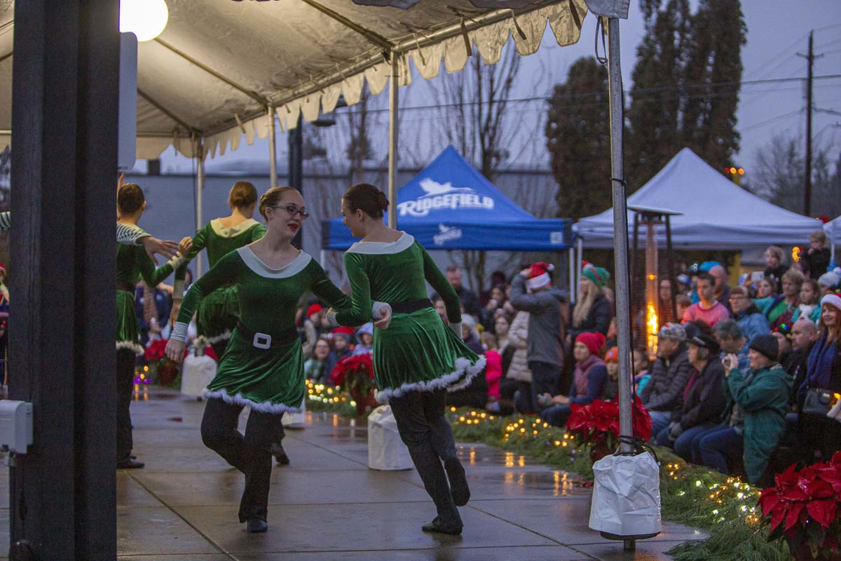 Students from a local dance company perform holiday-themed choreography for an audience at the 2019 Hometown Celebration in Ridgefield. Photo by Bailey Granneman