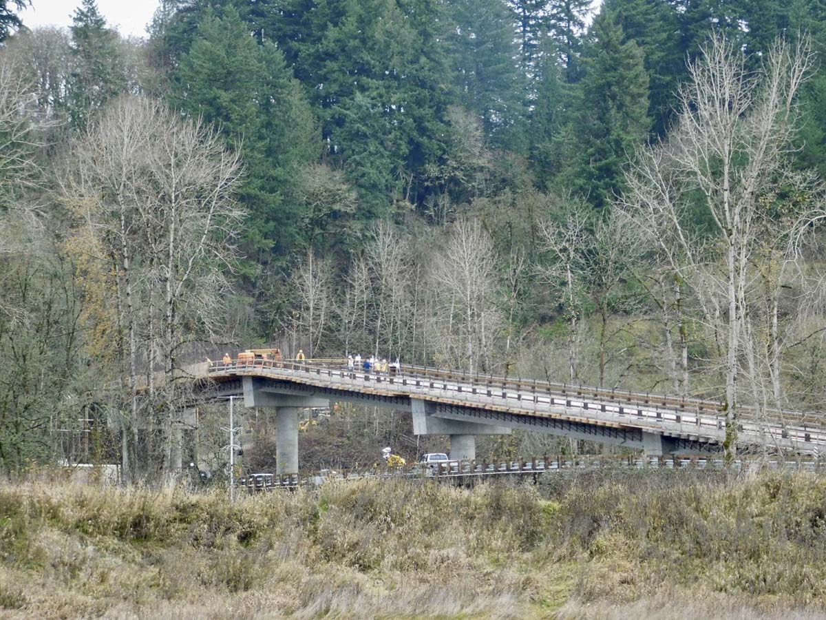 The new bridge to the River S Unit at the Ridgefield National Wildlife Refuge arcs over the old, one-lane wooden bridge. Photo courtesy of Ridgefield Public Schools