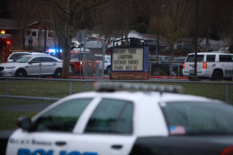 Police swarmed Sarah J. Anderson Elementary School in Hazel Dell on Nov. 26 after a mother was shot to death by her estranged husband. Photo by Jacob Granneman