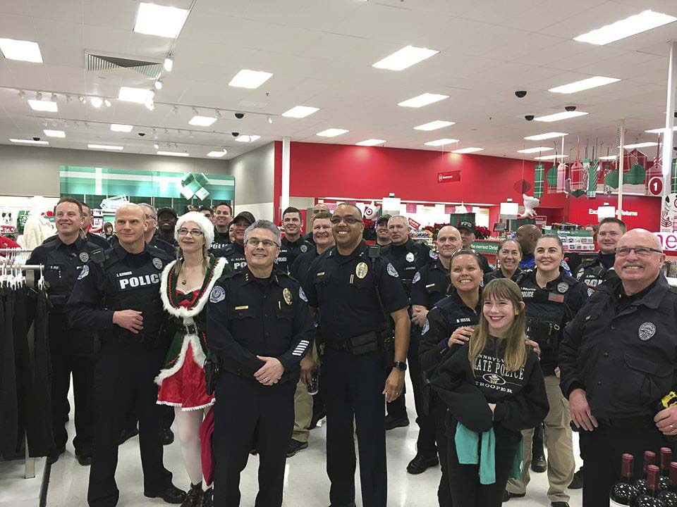 A large group of members of the Vancouver Police Department joined helpers from Nautilus, Inc. to give over 100 local children the opportunity to Shop With a Cop Saturday at the Target store at 16200 NE Mill Plain Blvd. in Vancouver. Photo courtesy of Vancouver Police Department