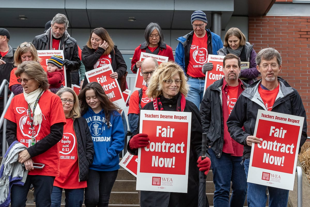 Clark College educators are on strike as of Monday. This photo was from a rally in February of last year. Photo by Mike Schultz