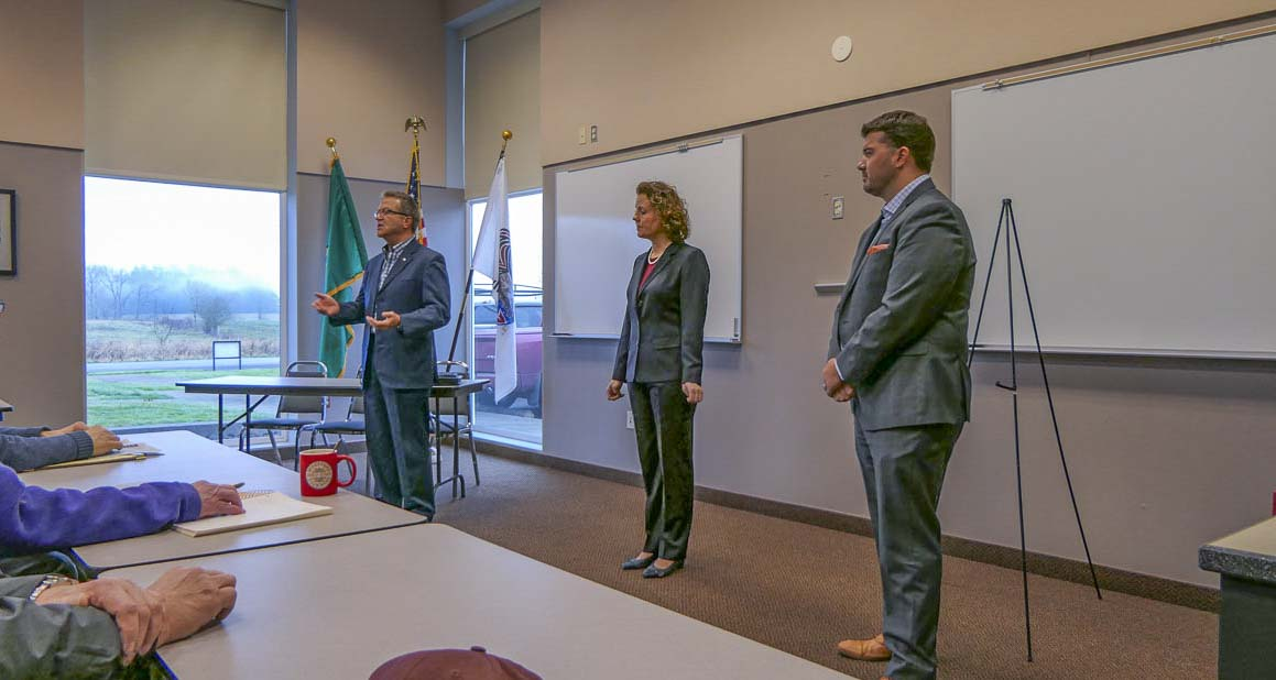 Rep. Larry Hoff (left), Sen. Ann Rivers (center) and Rep. Brandon Vick (right) are shown here at a Legislative Town Hall held before the 2019 session of the Washington State Legislature. The three 18th District elected officials will hold three town hall meetings this Saturday in Clark County. Photo by Chris Brown