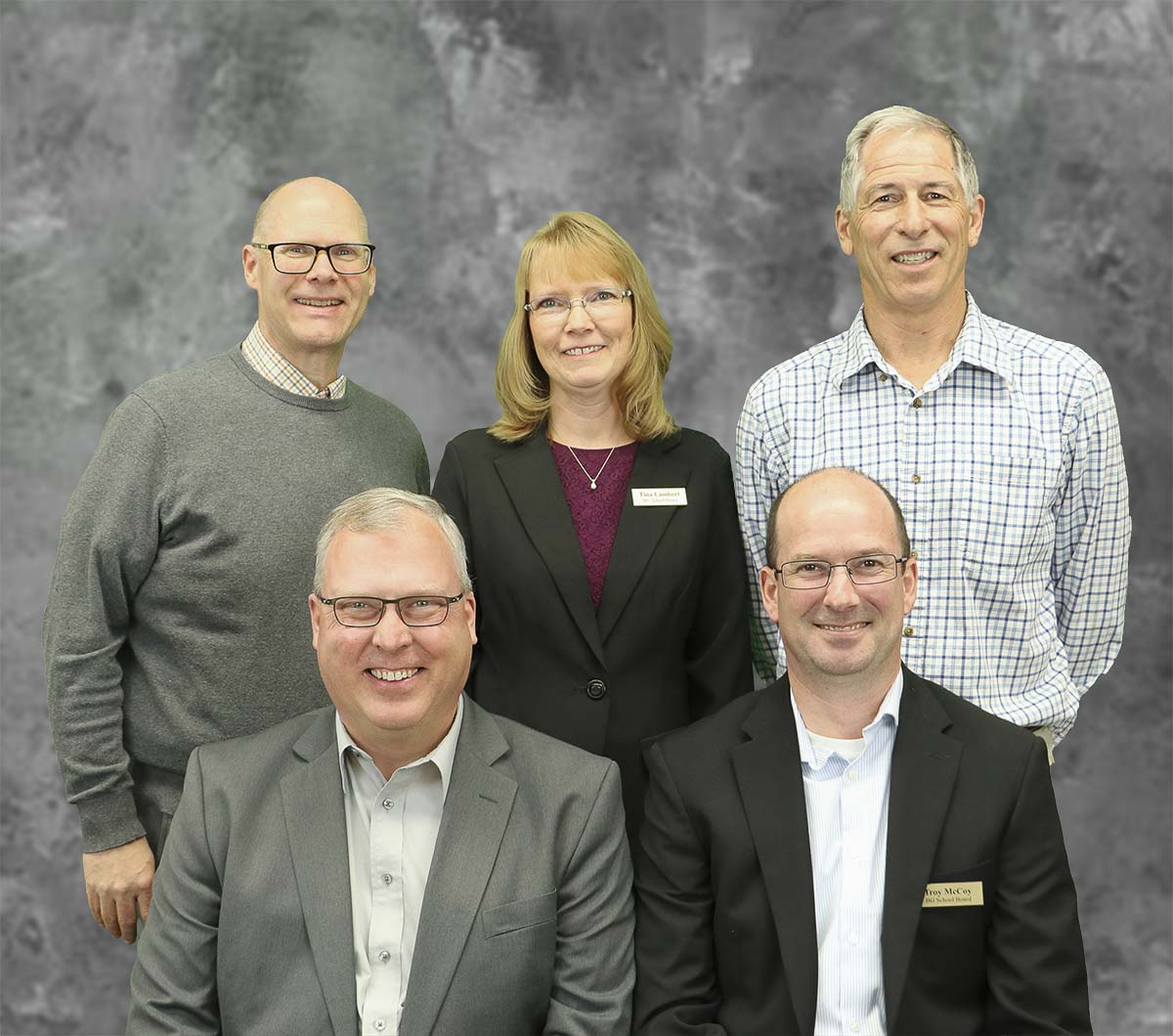Members of the Battle Ground School Board are shown here. Pictured are (back row, left to right) Rob Henrikson, Tina Lambert, and Mark Watrin; (front row, left to right) Monty Anderson and Troy McCoy. Photo courtesy of Battle Ground Public Schools