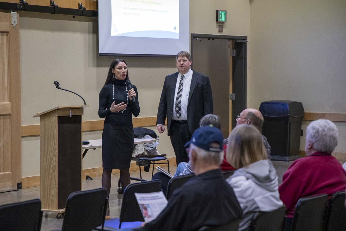 Clark County Treasurer Alishia Topper and Assessor Peter Van Nortwick speak at a public forum on property taxes at the Battle Ground Community Center. Photo by Chris Brown