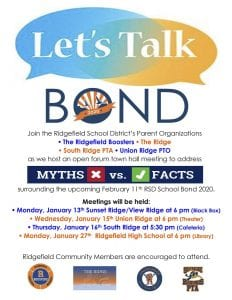 Parent organizations in the Ridgefield School District will host four open forum town hall meetings to address myths vs. facts surrounding Ridgefield School District's 2020 School Bond.