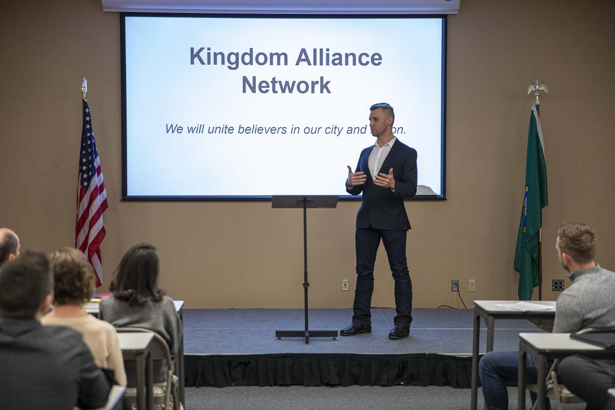 Flash Love cofounder Andrey Ivanov shares an energetic speech with some 55 business owners at the launch of the Kingdom Alliance Network in January 2020. Photo by Jacob Granneman