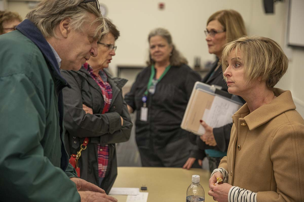 Sen. Annette Cleveland speaks with constituents after the 49th Legislative District town hall on Saturday. Photo by Jacob Granneman