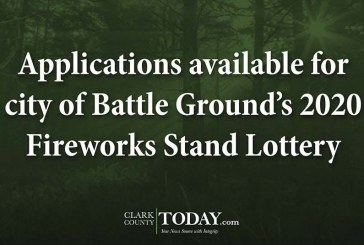 Applications available for city of Battle Ground's 2020 Fireworks Stand Lottery