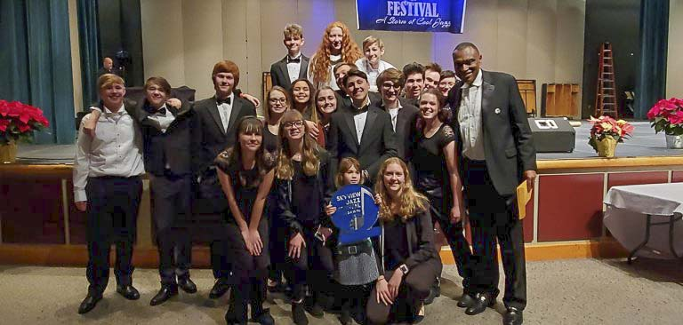 The Battle Ground High School Advanced Jazz Band, shown here after taking first place at the Skyview Jazz Festival in December, was awarded the Dale Beacock Memorial Sweepstakes trophy at the 58th annual Clark College Jazz Festival. Photo courtesy of Battle Ground School District