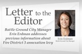 Letter: Battle Ground City Manager Erin Erdman addresses previous information about Fire District 3 annexation levy