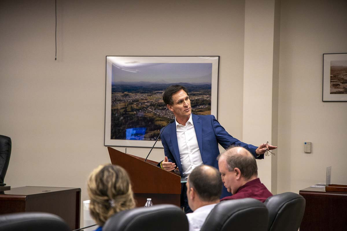 Tyler Wright, the new president and CEO of YMCA of Columbia-Willamette, speaks to the Battle Ground City Council during a Jan. 21 meeting. Photo by Chris Brown