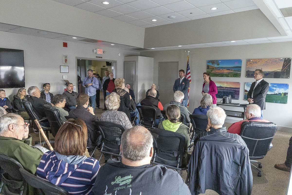 Reps. Brandon Vick and Larry Hoff, along with Sen. Ann Rivers, hold an 18th Legislative District Town Hall in Camas ahead of the 2020 legislative session. Photo by Mike Schultz