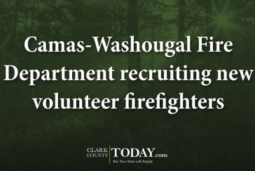 Camas-Washougal Fire Department recruiting new volunteer firefighters