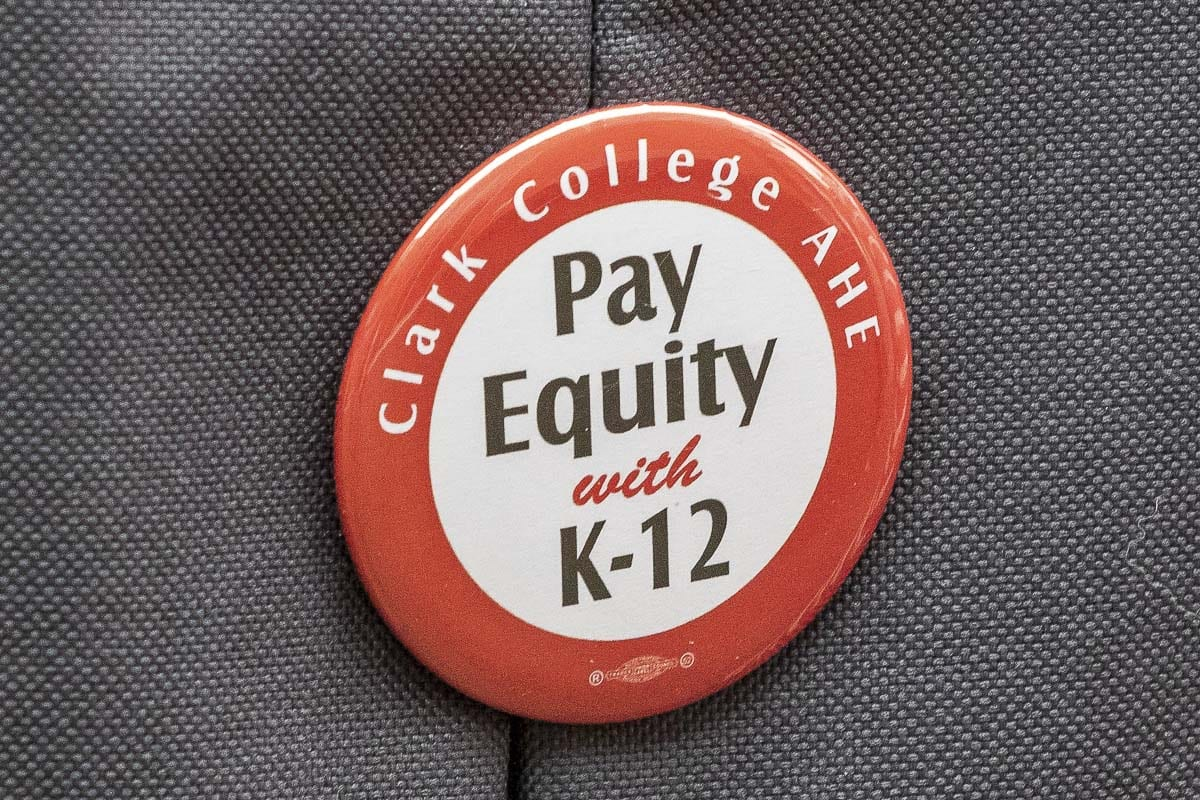A pin worn by Clark College educators during a rally in February of last year. Photo by Mike Schultz