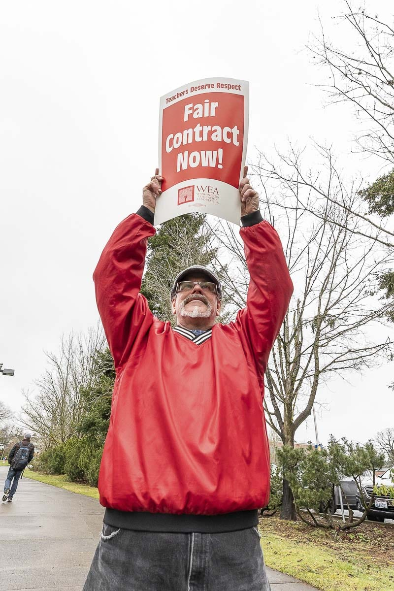 Mark Keely, an educator at Clark College, is shown here during a rally last March. Members of the Clark College Association for Higher Education will vote on a new contract Wednesday. Photo by Mike Schultz