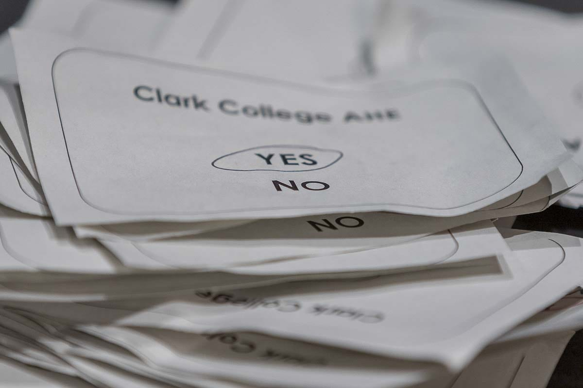 "One of 257 ballots marked ""yes'' as the Clark College faculty voted to end a strike and accept a new deal on Wednesday. Photo by Mike Schultz"