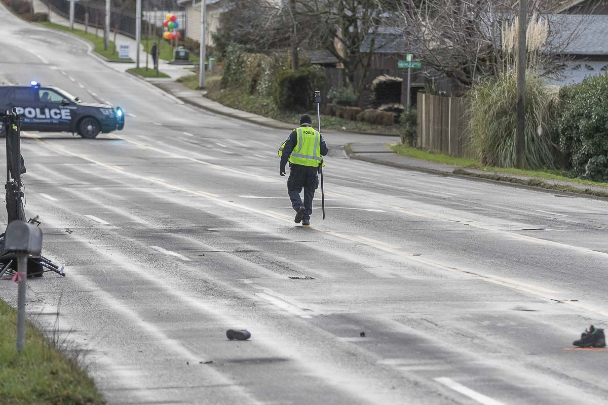 Crash scene investigators work to piece together what happened after two pedestrians were killed early this morning at NE 112th Ave and 23rd Circle in Vancouver. Photo by Mike Schultz