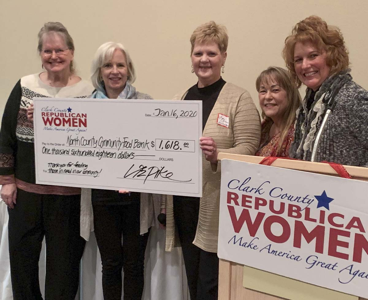 Clark County Republican Women officers (from left to right) Anna Miller, Liz Cline, Nicole Wubben and Liz Pike present a check for $1,618 to North County Community Food Bank Executive Director Elizabeth Cerveny. Photo courtesy of Clark County Republican Women