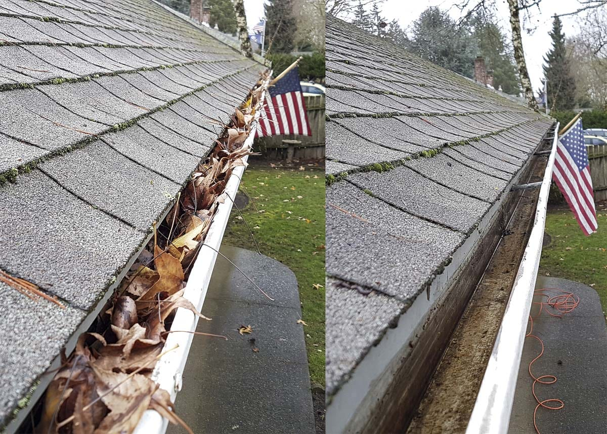 Before and after photos taken by Dee Giuchici show how the transformation from clogged to perfectly working gutters takes place. Photos courtesy of Dee Giuchici