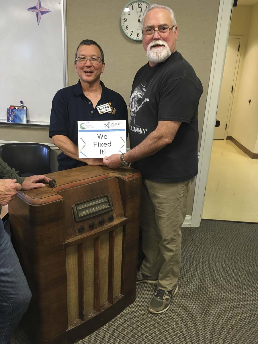 Northwest Vintage Radio Society chair, Pat Kagi, helped repair a vintage radio at the November 2019 Repair Clark County event. Photo courtesy of Columbia Springs