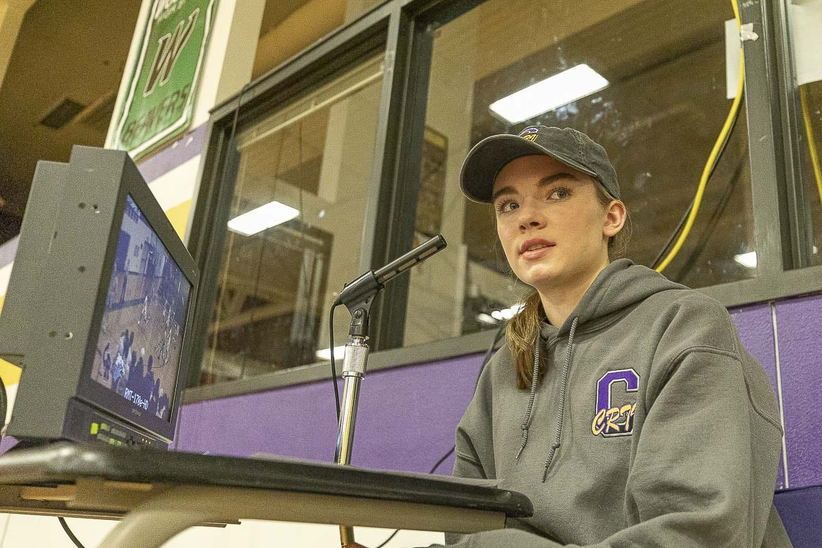 Jordan Ryan brought a love of sports to broadcasting — a player and a play-by-play talent, representing Columbia River High School. Photo by Mike Schultz