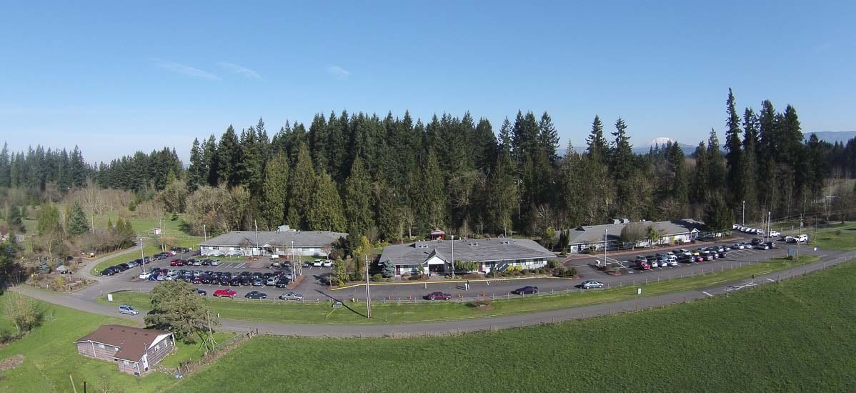 Aerial view of the CASEE campus, Battle Ground Public Schools' 80-acre outdoor learning lab. Photo courtesy of Battle Ground Public Schools