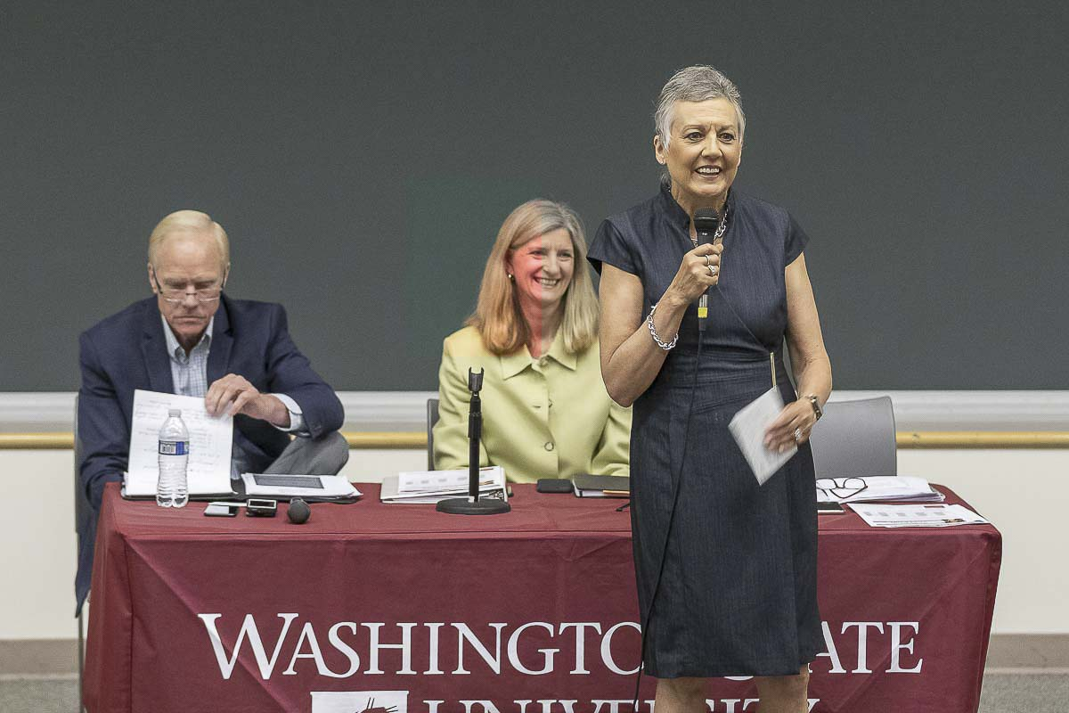 Sen. Lynda Wilson (R-Vancouver) speaks during a town hall meeting at WSU Vancouver in June. Photo by Mike Schultz