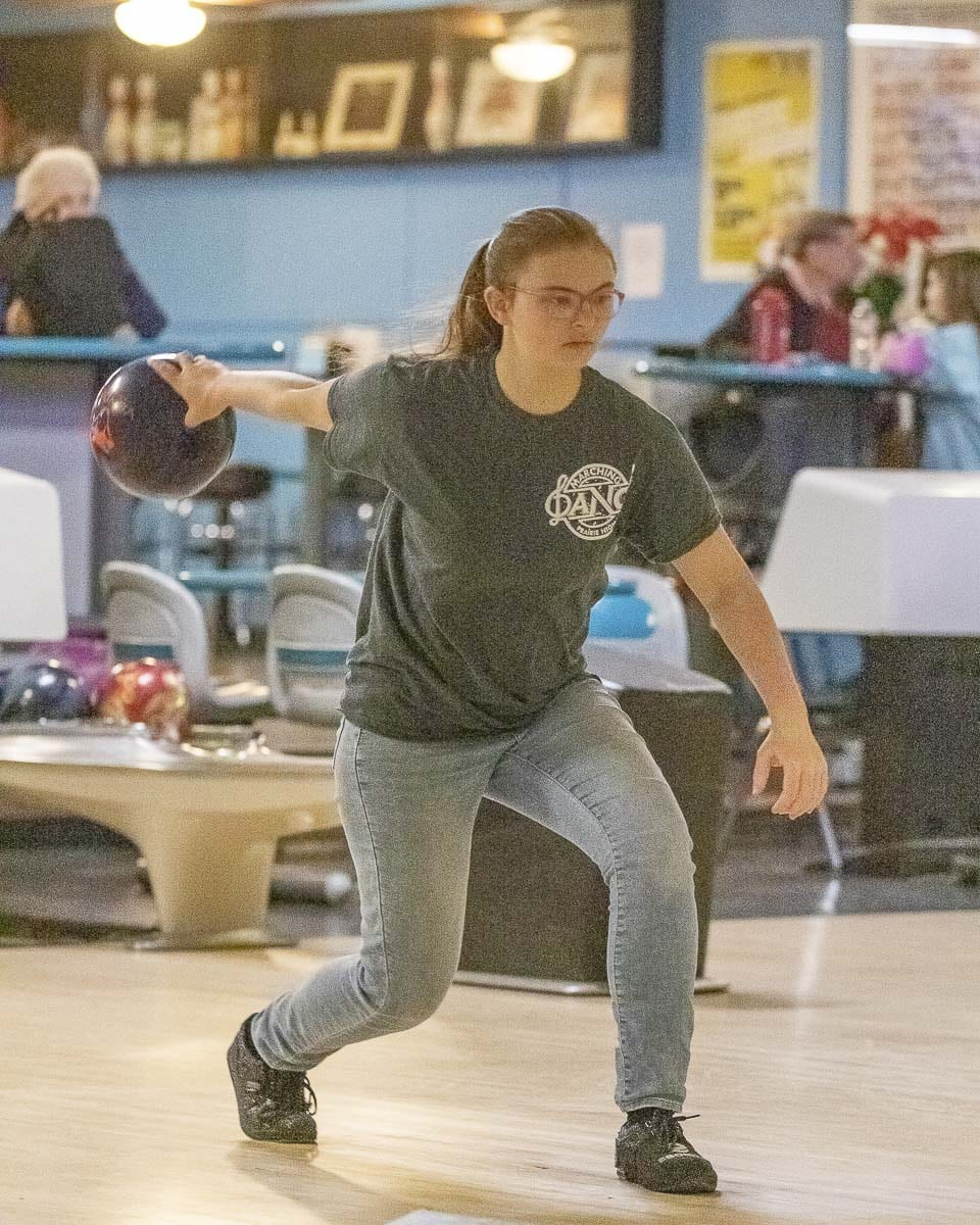 Anna Gatlin, a junior, is Prairie's top bowler this season, with an average of better than 180 per game. Photo by Mike Schultz
