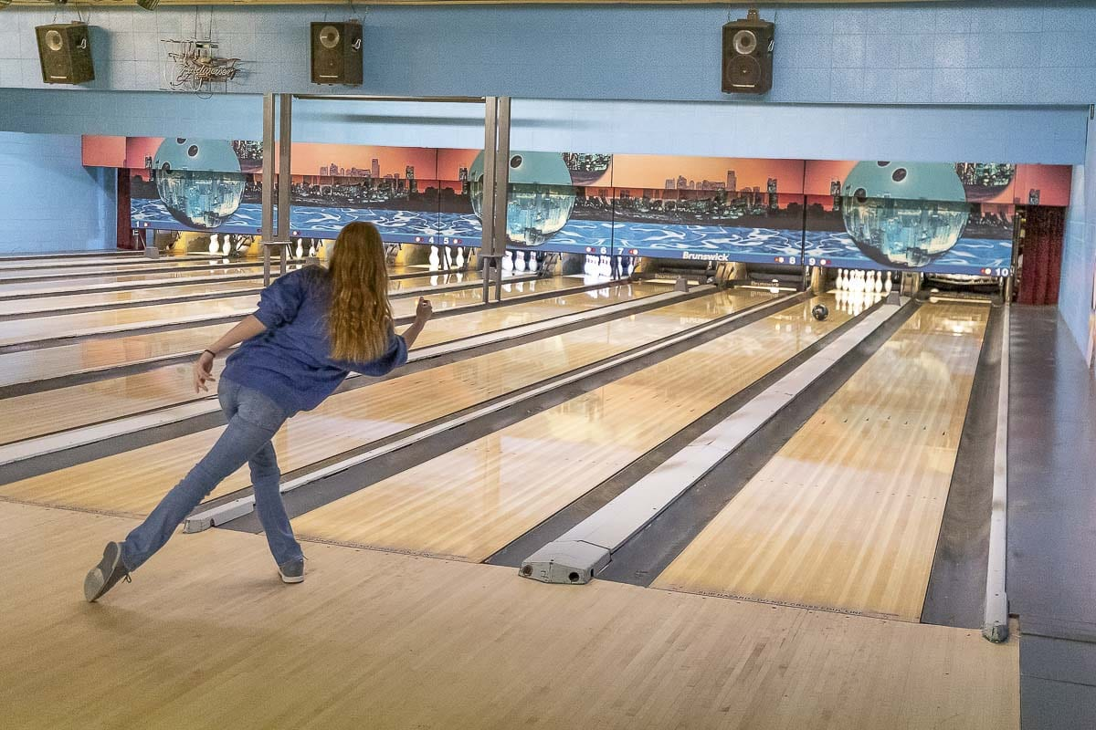 Loie Bolin and the Prairie Falcons get in some late-season practice at Tiger Bowl in Battle Ground. Prairie is among the top bowling teams in the region. Photo by Mike Schultz