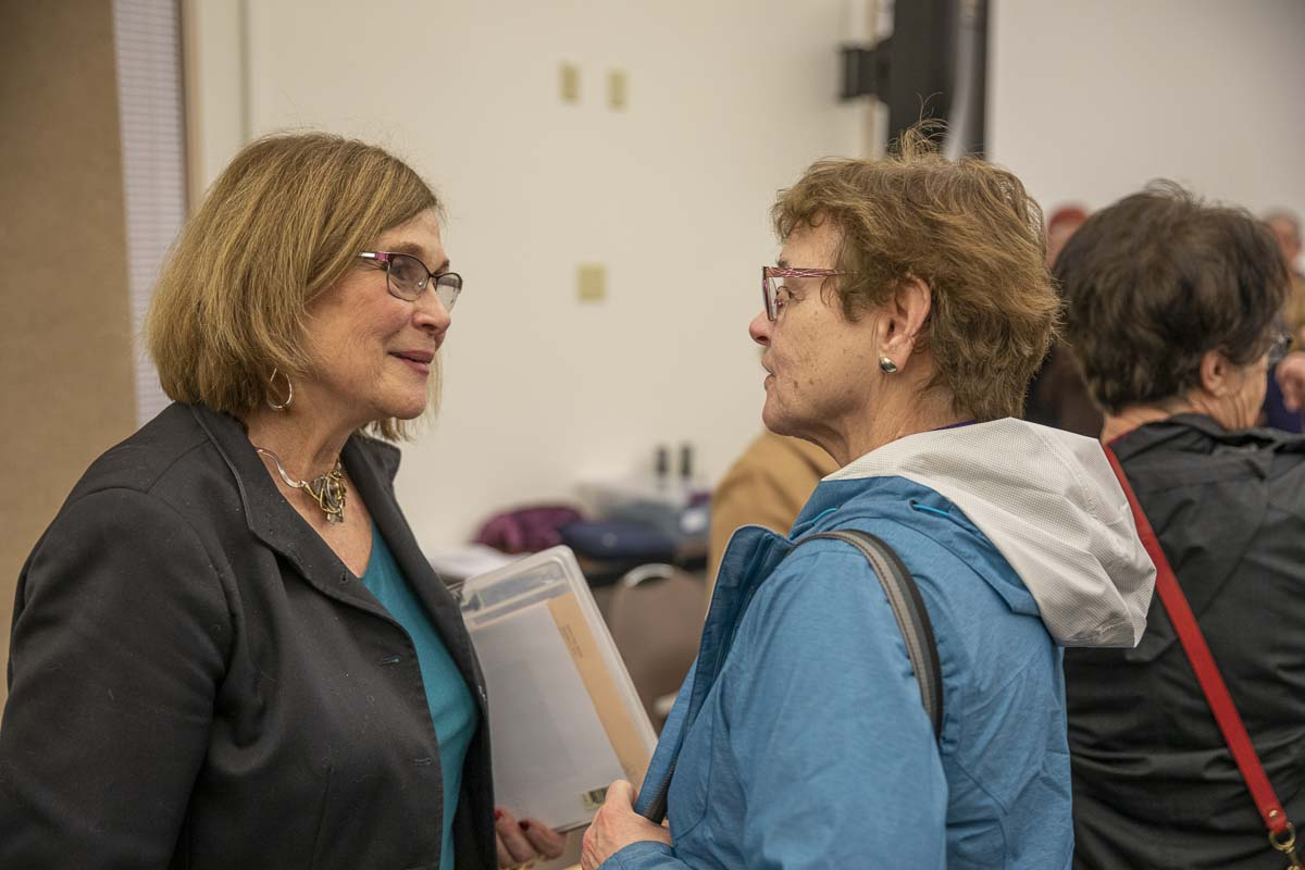 Sharon Wylie meets new community members at a town hall at the ESD 112 building in Vancouver. Photo by Jacob Granneman