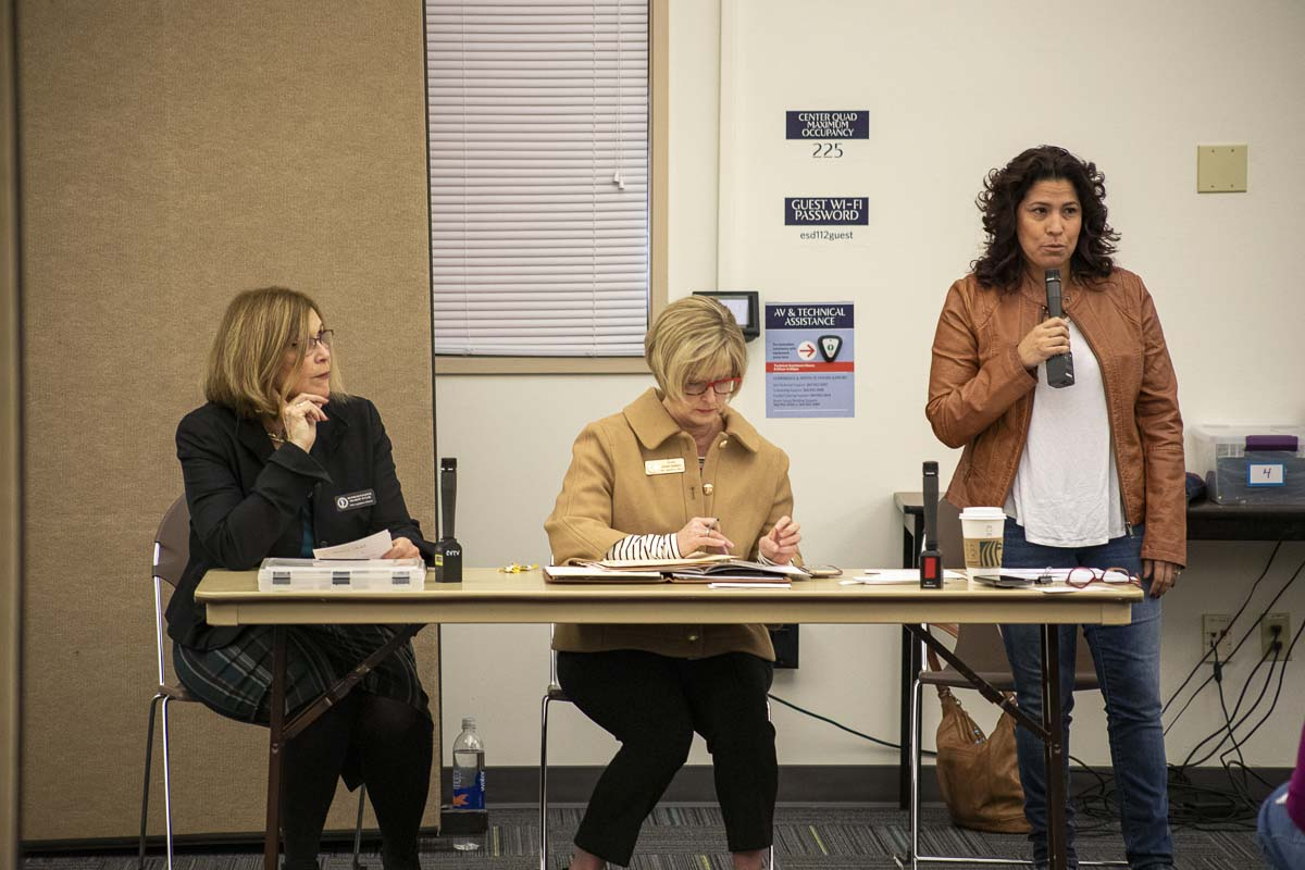 From left to right: Rep. Sharon Wylie (D), Sen. Annette Cleveland (D) and Rep. Monica Stonier (D). Photo by Jacob Granneman