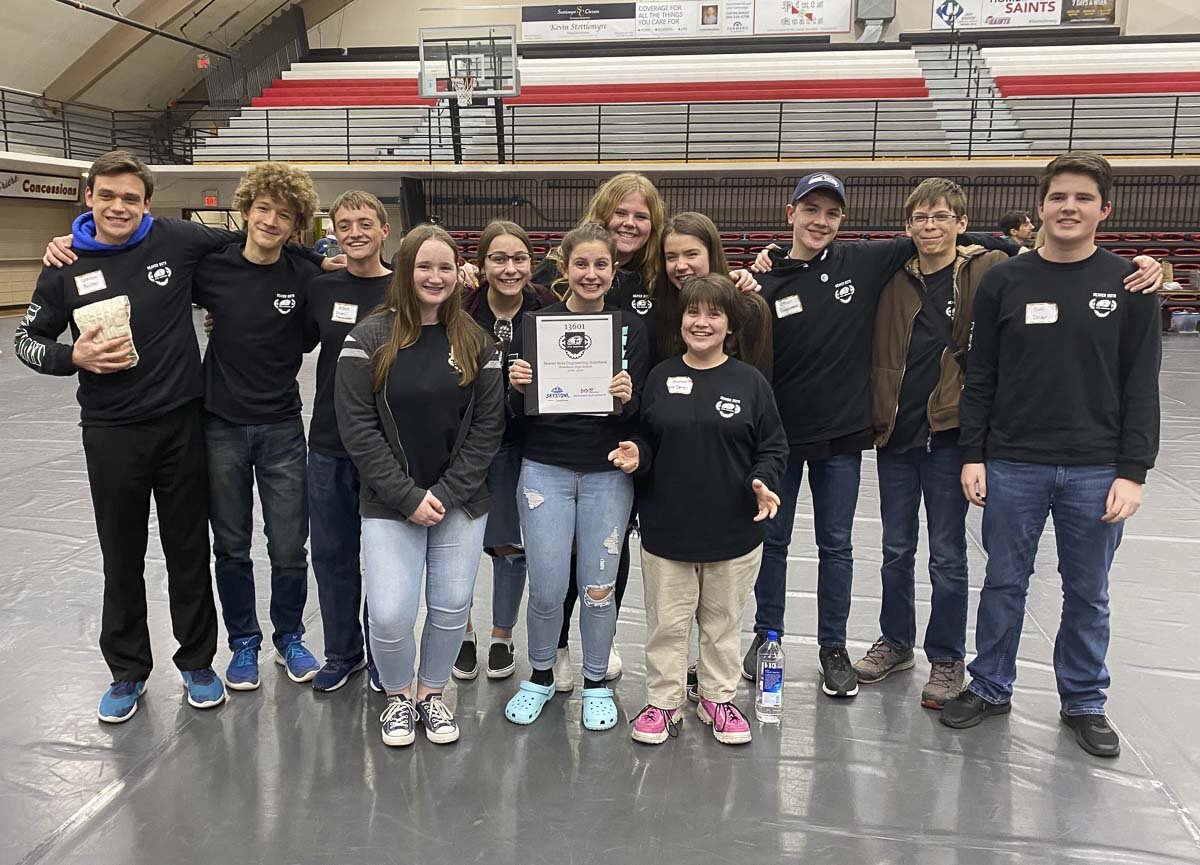 The Beaver Bots' Inspire Award qualified them to participate in the State Finals. Photo courtesy of Woodland Public Schools