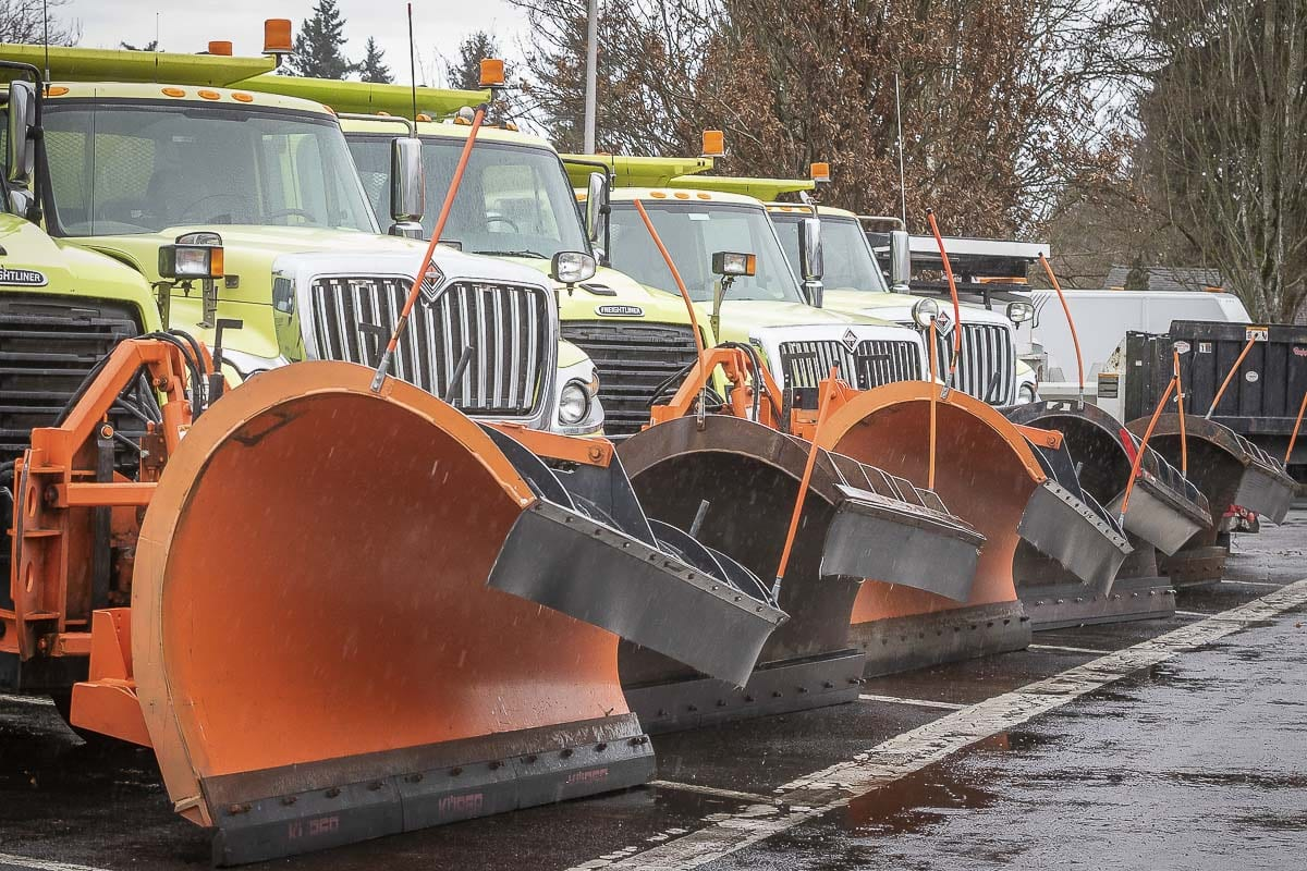 Snow plows are lined up and ready at the Washington State Department of Transportation yard on Main Street in Vancouver. Photo by Mike Schultz