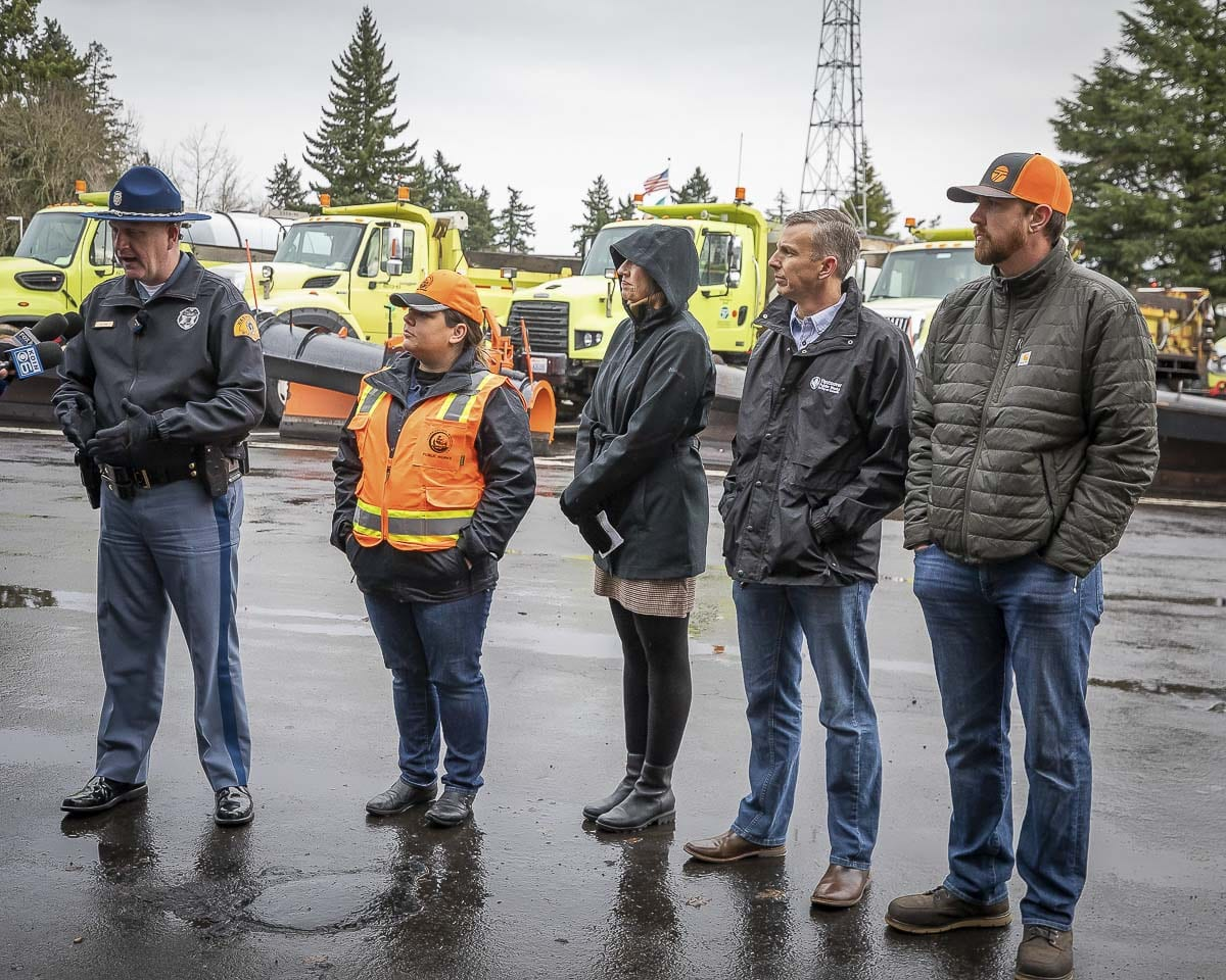 Local officials speak about potential snow or ice next week, and making sure drivers are prepared. From left to right: Trooper Will Finn, Washington State Patrol; Megan Reed, Clark County Public Works senior communications manager; Christine Selk, spokesperson for C-TRAN; Ryan Miles, street crews manager for the city of Vancouver; Brad Clark, assistant superintendent with Washington State Department of Transportation SW Region. Photo by Mike Schultz