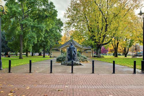 Esther Short Park is the oldest public square in the state of Washington. This 5-acre park in the heart of downtown Vancouver features mature trees, a lush lawn, a playground, restrooms, bell tower and water feature, and covered stage. Photo courtesy of city of Vancouver