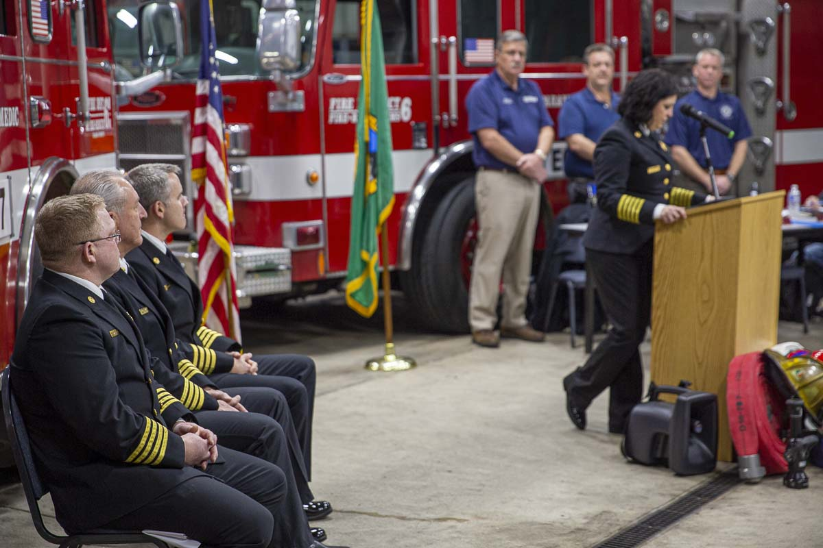 Kristan Maurer delivers a speech following her swearing in while her fellow chiefs watch during a ceremony on Jan. 7. Photo by Jacob Granneman