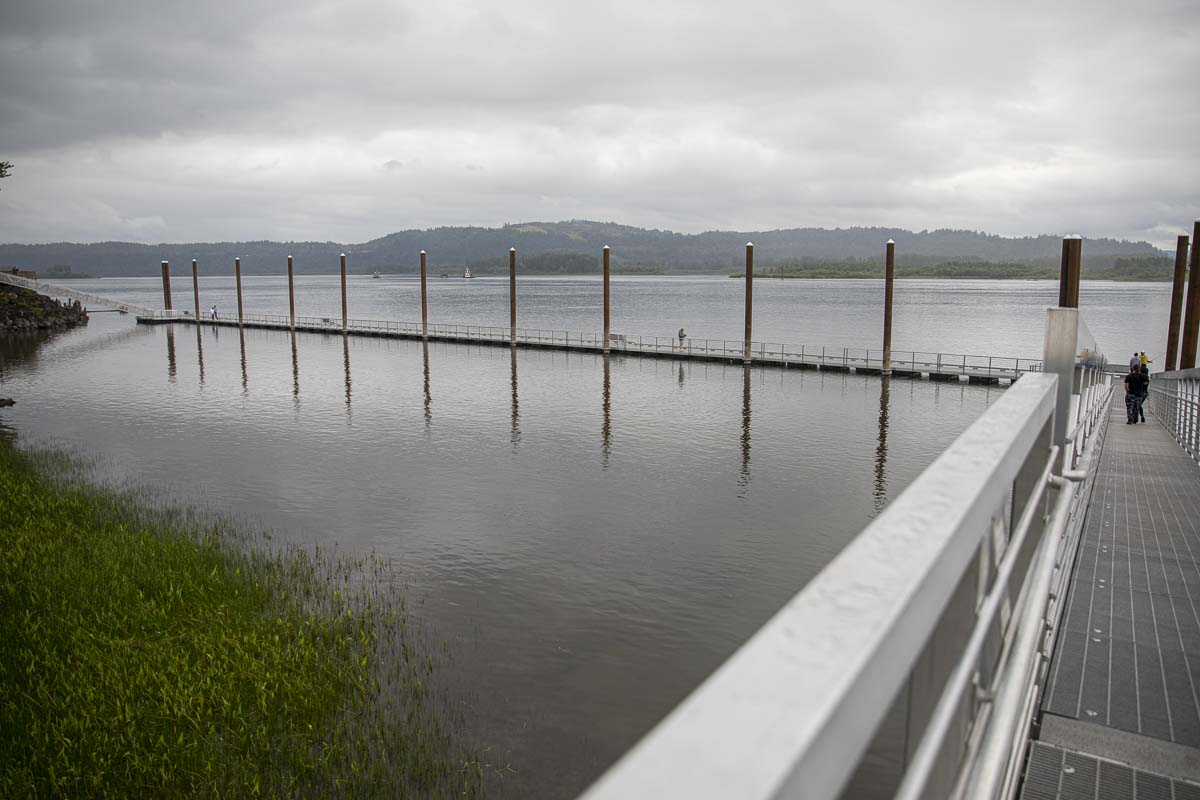 The newly replaced Steamboat Landing dock is shown here along the Columbia River in Washougal. Photo by Jacob Granneman