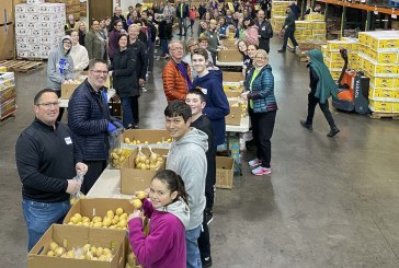 Kaiser Permanente volunteers sort 20 tons of potatoes at Clark County Food Bank on MLK Day