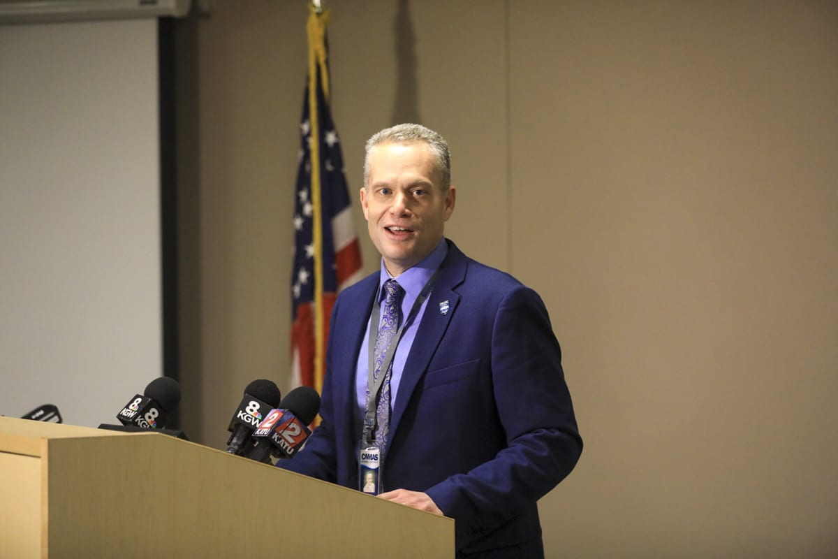 Camas School District Superintendent Jeff Snell addresses the media following the resignation of Dr. Liza Sejkora as principal of Camas High School. Photo by Mike Schultz