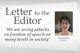 Letter: 'We are seeing attacks on freedom of speech on many levels in society'