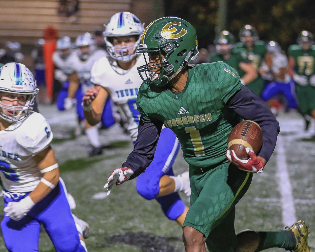 Zyell Griffin helped Evergreen to a win over Mountain View and a playoff berth in the fall. Now, he is expected to sign with the University of Nevada, Las Vegas. Photo by Mike Schultz