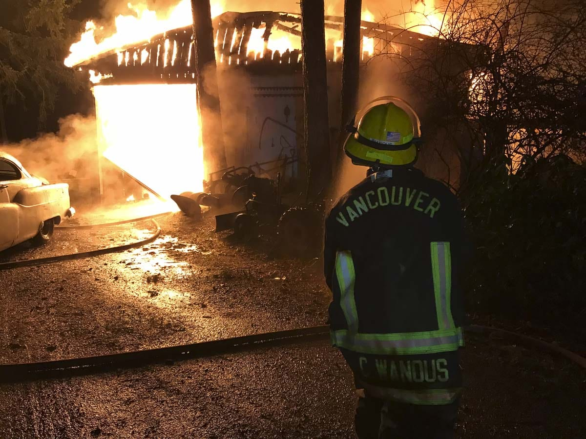 Firefighters protected other structures on the property, but could not save the shop buildings. Photo courtesy of Vancouver Fire Department