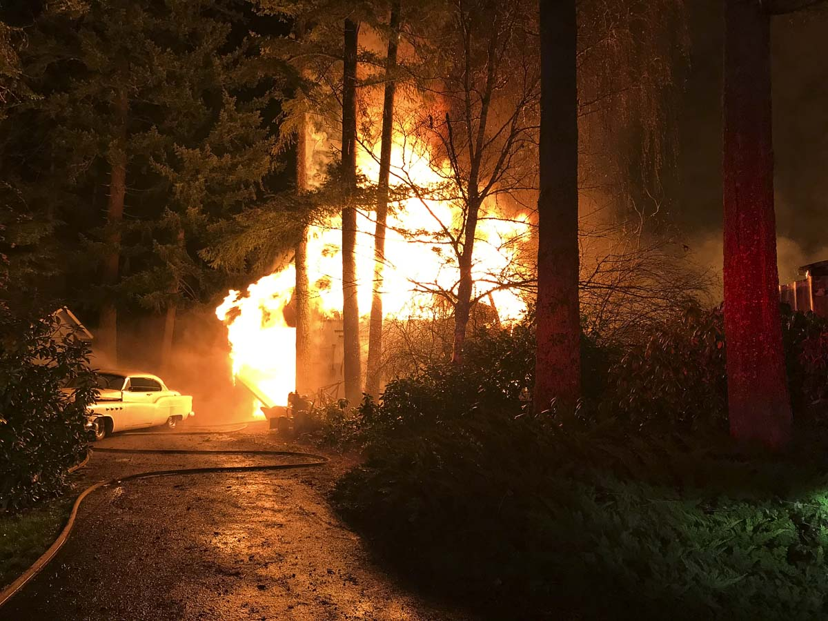 The large volume of fire kept firefighters out of the building and the fire was fought from outside. Photo courtesy of Vancouver Fire Department