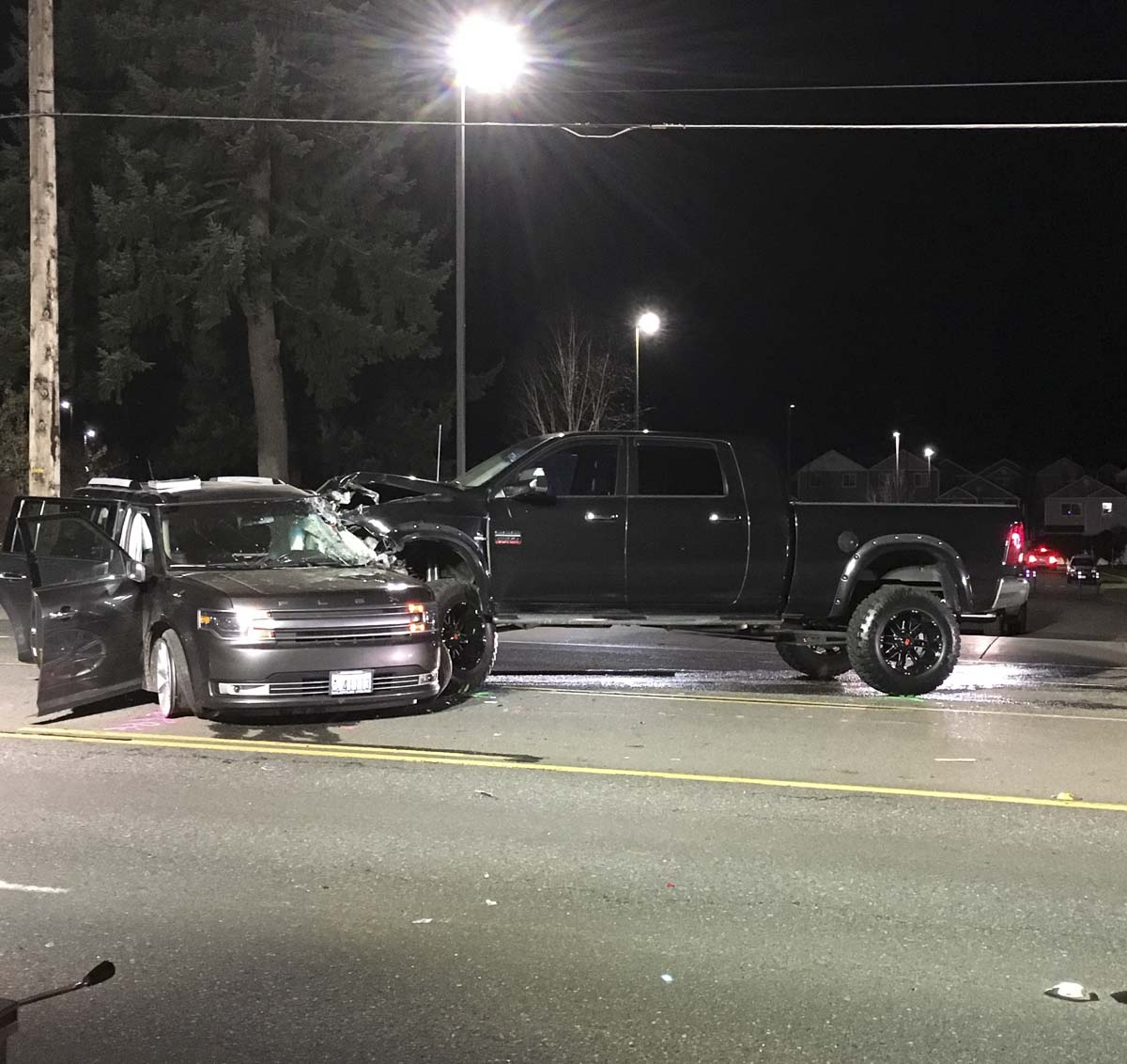 The Ford Flex drove directly into the path of a westbound Dodge 2500 pickup, driven by Kierstan Cormican of Battle Ground. The pickup collided with the driver's side of the Ford Flex, and it's driver, Carolyn Clark-Bennett, was killed. Photo courtesy of Clark County Sheriff's Office