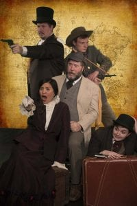 Adventure and mayhem come to Love Street Playhouse this Feb. 14–March as five actors portray 33 characters in Around the World in 80 Days, starring (from left) Adam Pithan of Longview as Phileas Fogg, Myronie McKee of Vancouver as Aouda, Brian Reed of Vancouver as Detective Fix, Alex Havens of Vancouver as Proctor and Hannah Mock of LaCenter as Passepartout. Photo courtesy of Bobby Pallotta